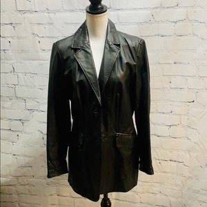 Pamela McCoy Black Leather Jacket-Medium